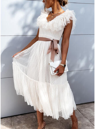 Jednolita Bez rękawów W kształcie litery A Łyżwiaż Casual Midi Sukienki