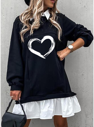 Print/Color Block Long Sleeves Shift Above Knee Casual Dresses