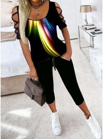 Tisk Neformální Plus velikost hlubokým výstřihem Slit Kalhoty Dvoudílné outfity