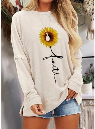 Zonnebloem print Ronde Hals Lange Mouwen Casual T-shirts