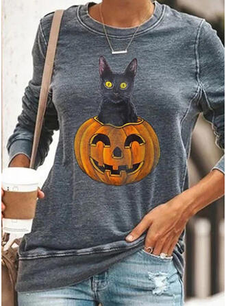 Halloween Animal Gola Redonda Manga Comprida Moletons