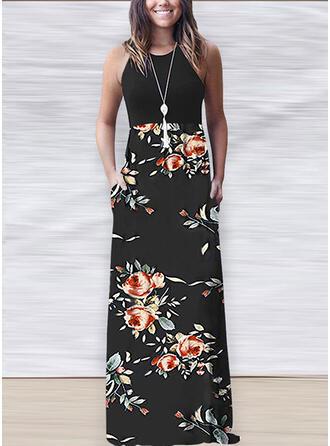 Estampado/Floral Sem mangas Evasê Casual Maxi Vestidos