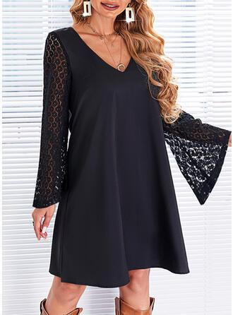 Solid Dantel Mâneci Lungi Flare Sleeve Shift Elbiseleri Deasupra Genunchiului Negre/Zarif Tunică Elbiseler