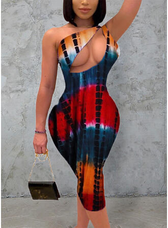 Estampado Sem mangas Bodycon Comprimento do joelho Sexy/Casual Vestidos