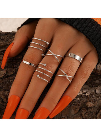 Simple Alloy Women's Rings 6 PCS