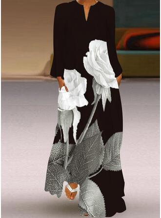 Распечатать/Цветочный Длинные рукова Прямые платья Повседневная Макси Платья