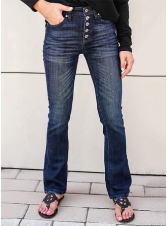 Sólido Jean Grandes Elegante Vintage Tamanho positivo Bolso Button Jeans