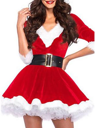 Bloc de culoare Mâneci la Jumătate Tip A-line Deasupra Genunchiului Crăciun Elbiseler
