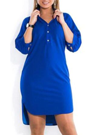 Große Größen Einfarbig 1/2 Ärmel Etuikleider Über dem Knie Lässige Kleidung Kleid