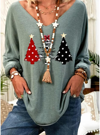 Print V-Neck Long Sleeves Christmas T-shirts