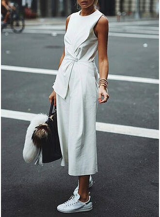 Solid Round Neck Sleeveless Casual Elegant Jumpsuit