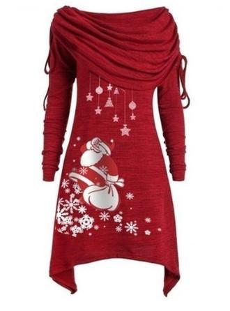 Imprimeu Mâneci Lungi De schimb Până la Genunchi Crăciun Elbiseler
