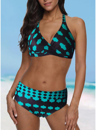 Print Halter V-Neck Sports Plus Size Bikinis Swimsuits