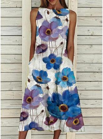 Распечатать/Цветочный безрукавный Прямые платья Повседневная миди Платья