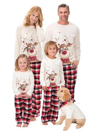 Deer Plaid Cartoon Family Matching Christmas Pajamas Pajamas