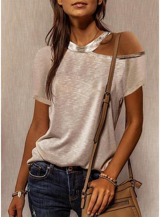 Jednobarevný Jedno rameno Krátké rukávy Neformální Bluze