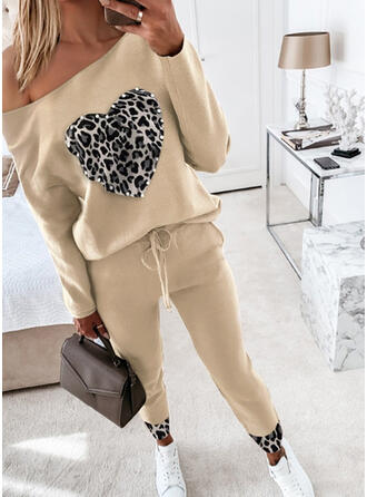 Plus Size Leopard Drawstring Casual Sporty Suits