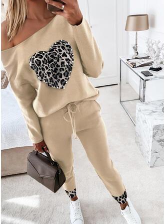 Plus Size leopard Șnur Casual sportiv Costumele