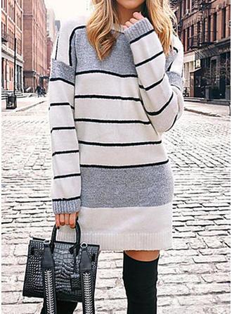Cu Dungi Tricot Cablu Bucată tricotată Guler Rotund Rochie pulover