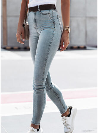 Sólido Jean Grandes Casual Tamanho positivo Bolso Jeans