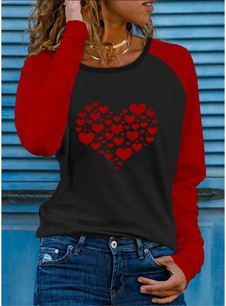 Renkli klişe Kalp Imprimeu Guler Rotund Mâneci Lungi Tişörtler