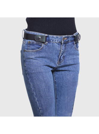 Unique Stylish Adjustable No Buckle Invisible Alloy PU Canvas Unisex Belts