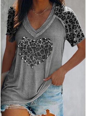 Wysadzana perełkami lampart Serce Dekolt w kształcie litery V Krótkie rękawy T-shirty