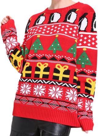 Imprimeu Tricot Cablu Noel Guler Rotund Pulover urât de Crăciun