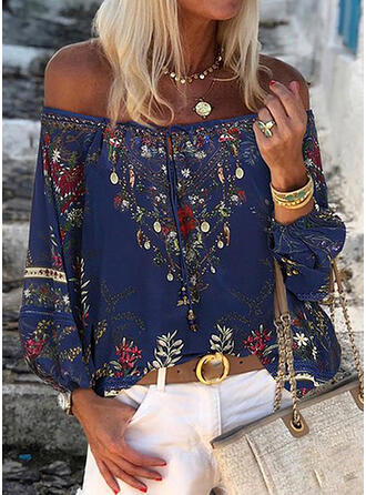 Print Floral Off the Shoulder Long Sleeves Casual Elegant Blouses