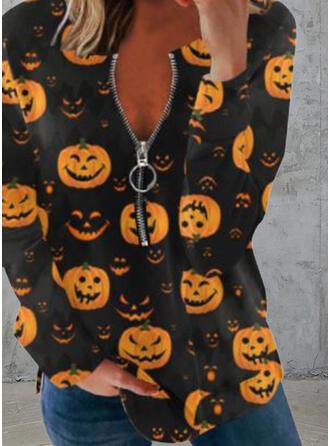 Cadılar Bayramı Imprimeu Decolteu în V Mâneci Lungi Tişörtler