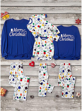 Letter Print Family Matching Christmas Pajamas