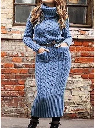 Solid Tricot Cablu Bucată tricotată Cep Helancă Rochie pulover