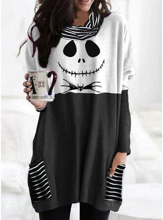 Halloween Bloc de Couleur Imprimé Rayures Faune Col Cheminée Manches Longues T-shirts