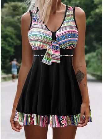 Splice color Knotted Strap V-Neck Plus Size Boho Swimdresses Swimsuits