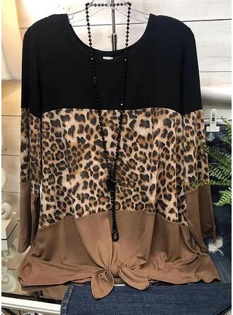 Color block Leopard Rund hals Lange ærmer Casual Skjorter
