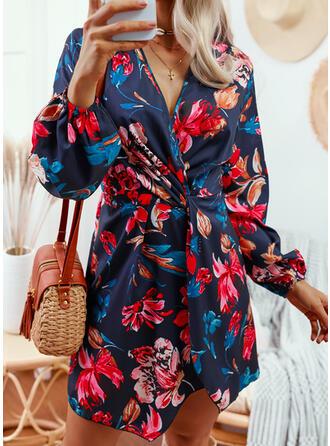 Imprimeu/Floral Mâneci Lungi Puff manşonuna Bir Çizgi Deasupra Genunchiului gündelik Patenci Elbiseler