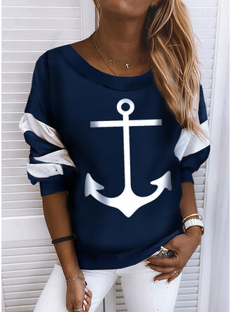 Print Color Block rund hals Lange ærmer Sweatshirts