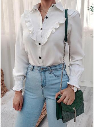 Solid klapa Mâneci Lungi gündelik Bluzlar