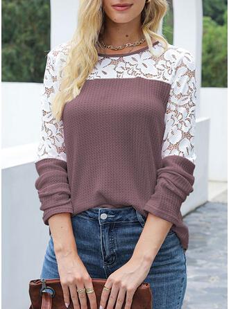 Renkli klişe Guler Rotund Mâneci Lungi Tişörtler