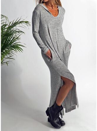 Solid Mâneci Lungi De schimb Casual Maxi Elbiseler