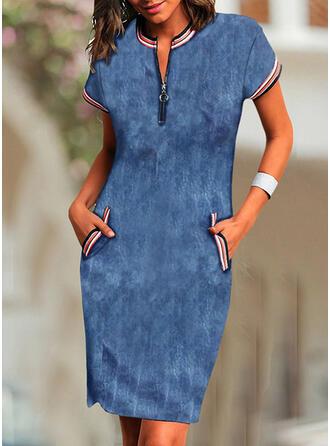Sólido Manga Curta Bodycon Comprimento do joelho Casual/Elegante Vestidos