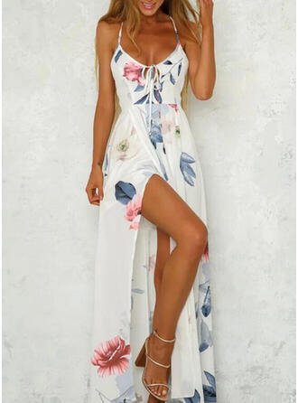Print/Floral Sleeveless A-line Slip Sexy/Vacation Maxi Dresses