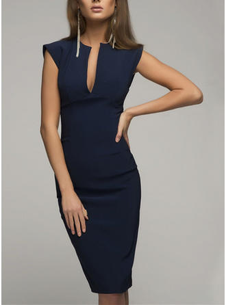 Solid Sleeveless Bodycon Knee Length Little Black/Party/Elegant Dresses