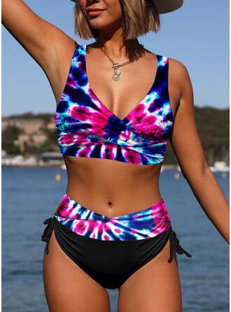 Ремень V шеи Большой размер красочный Повседневная Bikinis купальников
