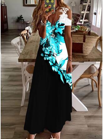 Imprimeu/Floral/Renkli klişe Dantel Mâneci Scurte Soğuk omuz kılıfı Shift Elbiseleri gündelik/Tatil Maxi Elbiseler