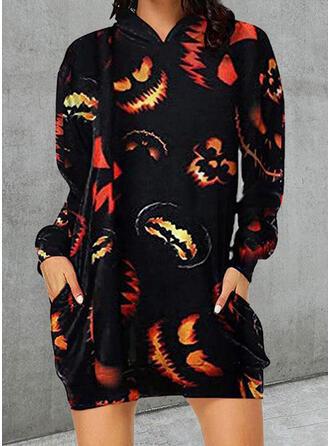 Cadılar Bayramı Imprimeu Mâneci Lungi Shift Elbiseleri Deasupra Genunchiului gündelik Tunică Elbiseler
