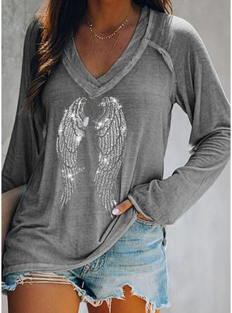cekiny Dekolt w kształcie litery V Długie rękawy T-shirty
