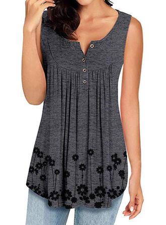 Impresión Cuello redondo Sin mangas Con Botones Casual Camisetas sin mangas