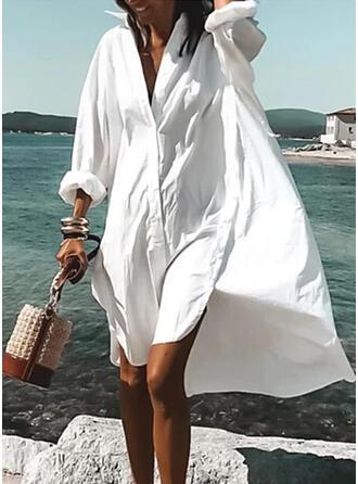 Solid Lange ermer Kvinnedrakt Asymmetrisk Casual/Ferie Skjorte Kjoler