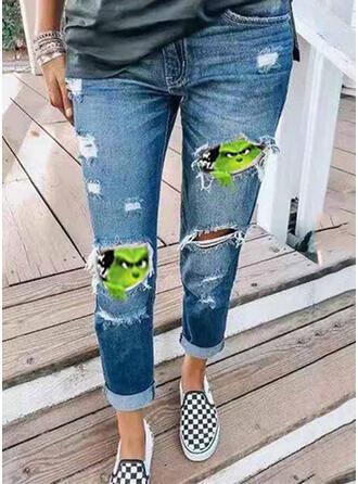 Miscelânea Estampado Rasgada Natal Sexy Vintage Jeans